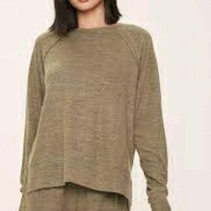 Aerie Plus Oversized Sweatshirt Tunic Army Green